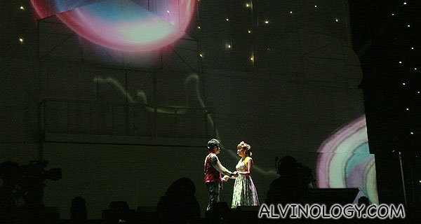 A romantic moment on stage