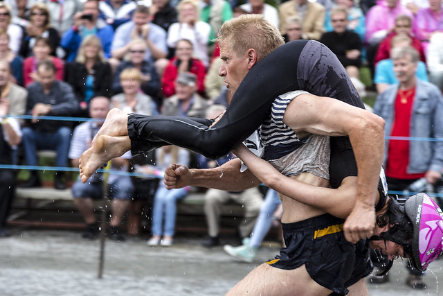 Wife carrying world championship, Finland.