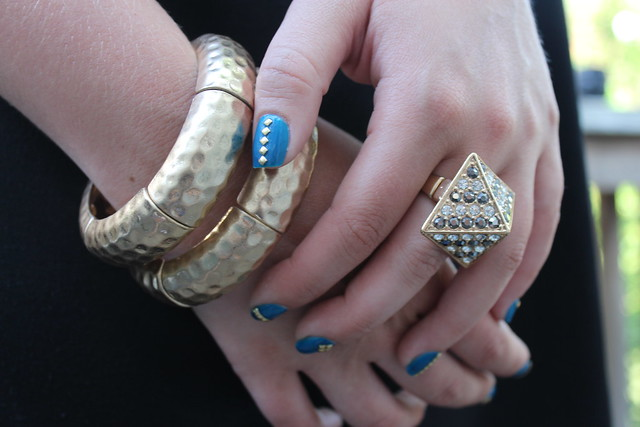 Living After Midnite: mark. Avon Get to the Point Ring: Gold Stud Mani
