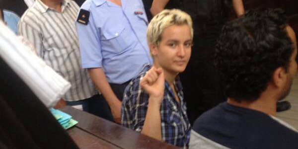 Amina Sboui in court. Image courtesy Femen France Facebook page