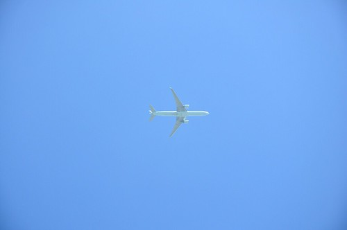 Plane flying east