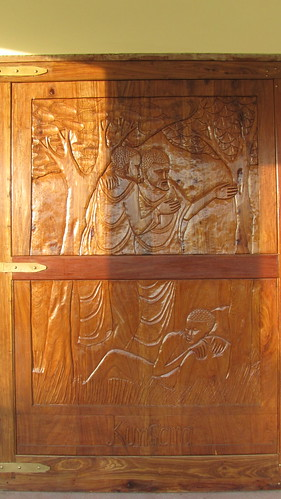 The doors are very big and carved with scenes of the transfiguration of Christ.