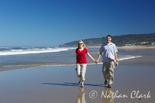 My honey and I walking the Oregon Coast