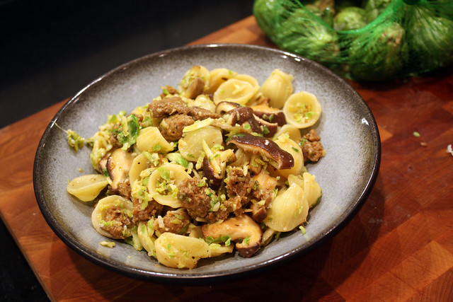 Brussels Sprouts Orecchiete with Chorizo & Mushrooms