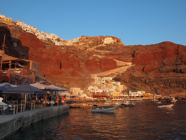 Oia cliffs at sunset