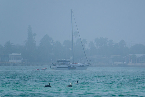 Sailing in the marine layer on Boca Ciega Bay, Tierra Verde