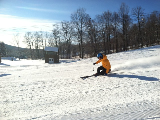 Tele-skier on Lower Rocket (Bristol Mountain)