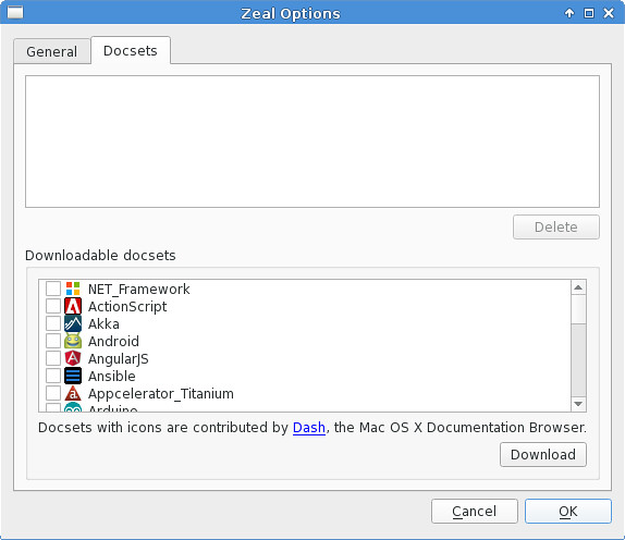 Available Docsets in Zeal   How to browse and search API doc