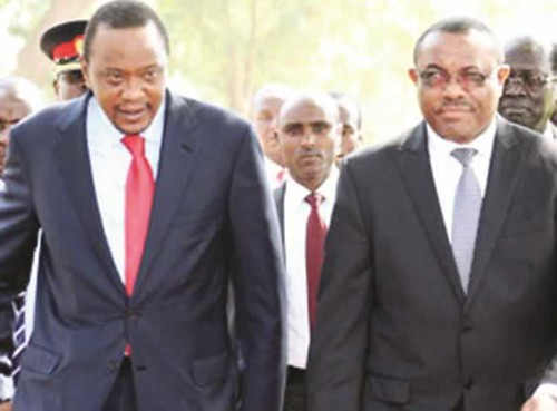 Ethiopian Prime Minister Hailemariam Desalegn with Kenyan President Uhuru Kenyatta in South Sudan to mediate between President Salva Kiir and ousted Vice-President Riek Machar. Fighting has spread to several regions of the country. by Pan-African News Wire File Photos