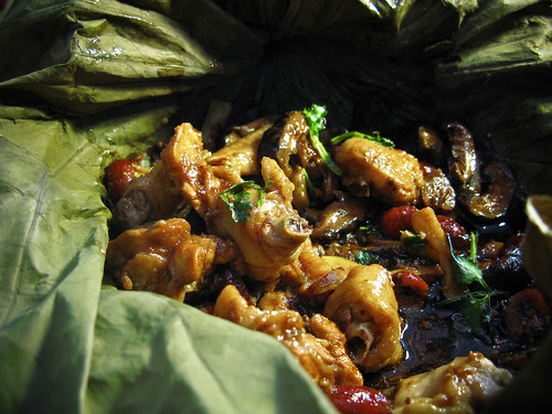 chinese, recipe, steamed chicken, lotus leaf, chicken, macau