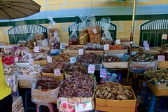 Assorted dried and salted seafood for sale near Tha Tien pier by the Chao Phraya river, Bangkok, Thailand