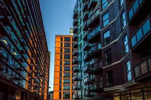 city windows reflection building apartment balcony yorkshire leeds flats