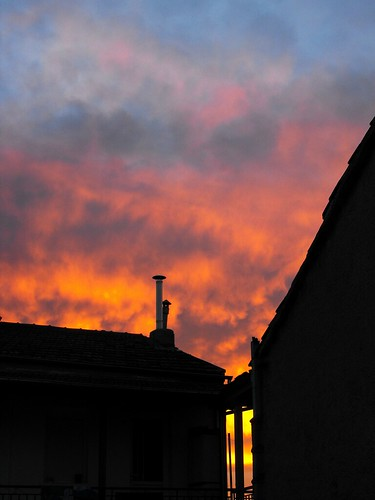 winter sunset sky house colours village greece macedonia western velvedo