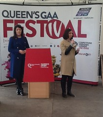 Ursula Uí Dhonnaile (LÍofa Development Officer) and Lynette Fay (BBC Presenter) speaking at the Queens GAA Festival