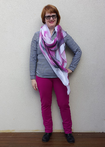 Sewaholic Renfrew with Style Arc Elle pants and Collette Dinnigan silk scarf