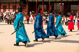 Gyeongbokgung Palace - Seoul: changement de gardes: Gisu, Chwitagun et Jeongbyeong