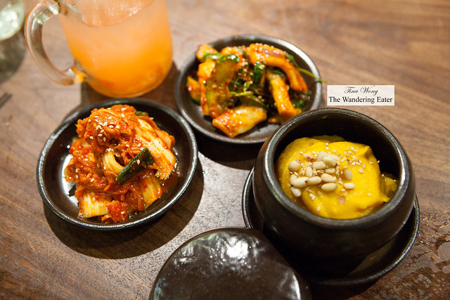 Our banchan with the yuzu strawberry iced tea