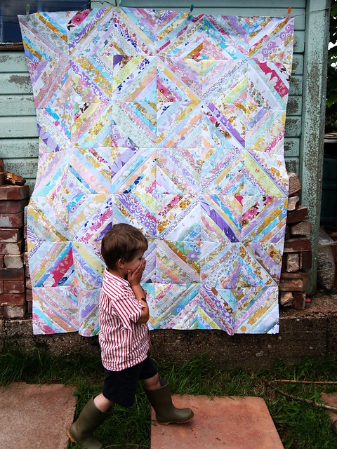 Vintage sheet string quilt top