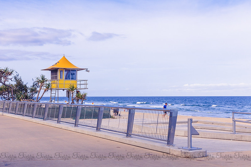 Walking along the beach in Surfers Paradise