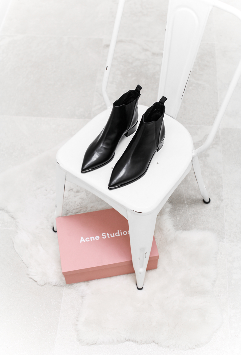 Acne Studios Jensen ankle boot, modern legacy, fashion blog, black leather, pointed toe, white-washed chair, interiors (1 of 1)