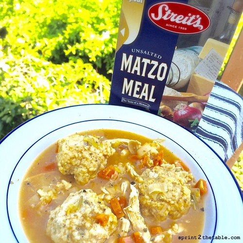Roasted Garlic Matzo Ball Chicken Soup