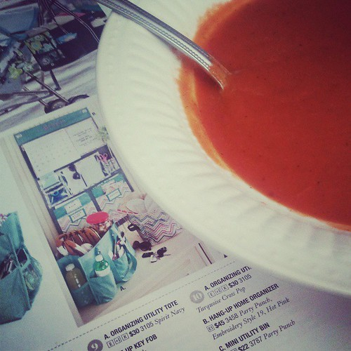 Enjoying homemade tomato soup as I look through the summer #Thirtyone catalog. I'm having an online party May 27-June 31. Can't wait!
