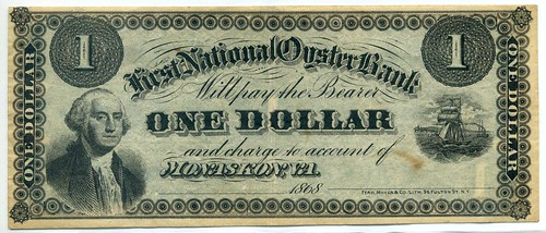 National Oyster Bank One Dollar front