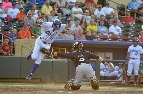 Getz getting theatrically tagged out at home. This was the first of THREE plays at the plate in the inning.