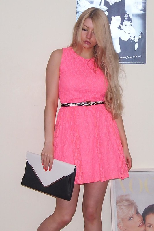 Neon, Sam Muses, Primark, Tammy, Lace Dress, Pink, Monochrome, Envelope Clutch