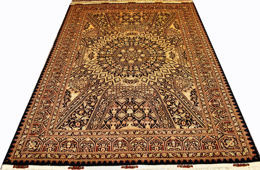 Versace Royalty Gonbad Gold & Black Tabriz Persian Area Rug