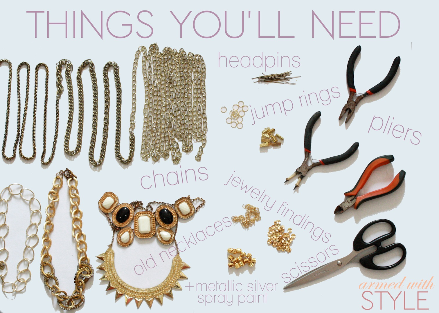 DIY statement necklace materials