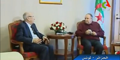 Nidaa Tounes leader Beji Caid Essebsi and Algerian President Abdelaziz Bouteflika. Screenshot from video posted on Nidaa Tounes' Facebook page