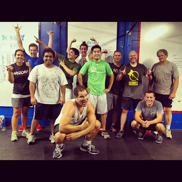 7:30pm class -  aka last call at CFLA. They work hard all day and work hard in class, too. #cflaclasswars #crossfit