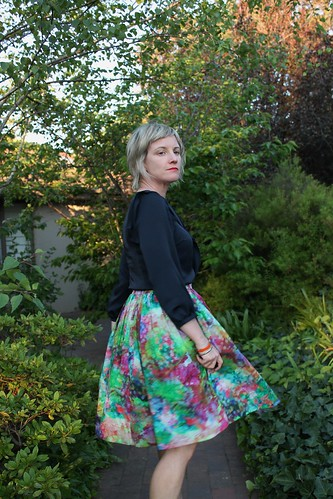 Gathered skirt with a splash of fluoro