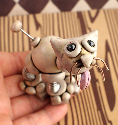 Gold Glenda Robot Kitty Cat by HerArtSheLoves