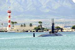 USS City of Corpus Christi (SSN 705) departs Joint Base Pearl Harbor-Hickam, Nov. 4. (U.S Navy photo by Mass Communication Specialist 2nd Class Steven Khor)