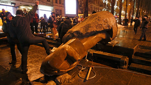 A statue of V.I. Lenin was toppled by Ukraine opposition forces in Kiev. The opposition wants to join the European Union. by Pan-African News Wire File Photos