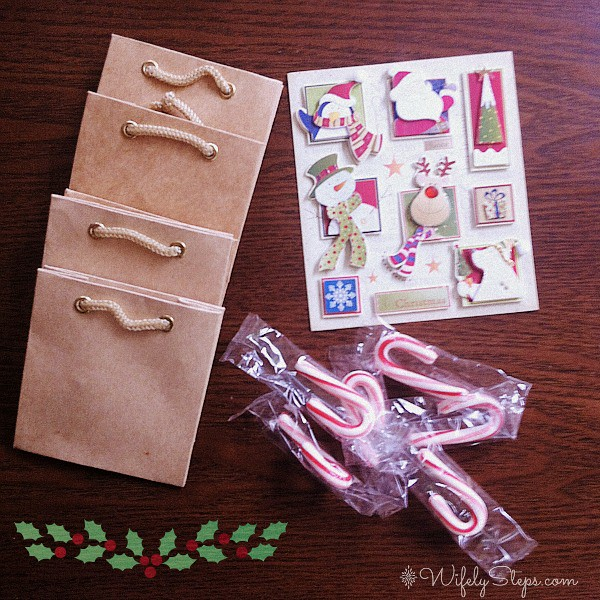 Paper bags, candy canes, holiday stickers and I forgot to throw in the washi tape.