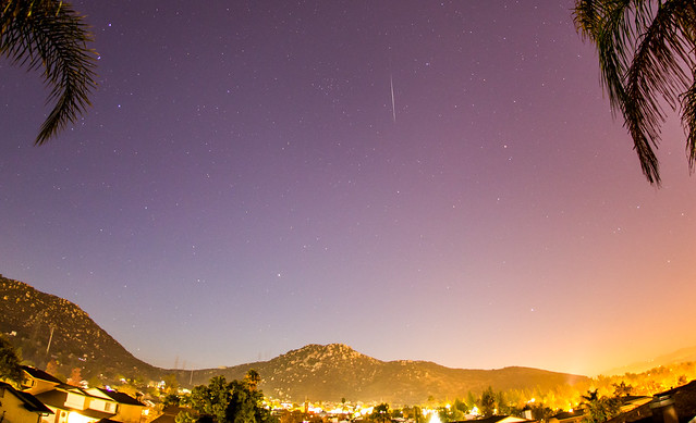 Geminids 2013. A Geminid meteor above the mountain and between palm trees in my backyard.