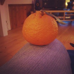 Mum & Dad have brought a mandarin from their garden for me #Xmas