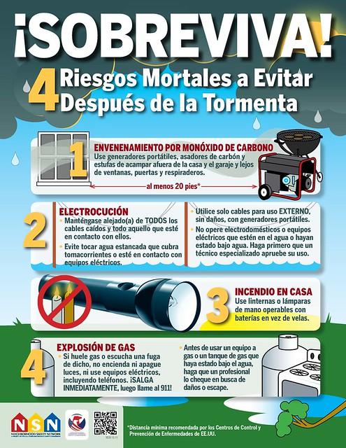 Cuatro riesgos mortales a evitar después de la tormenta