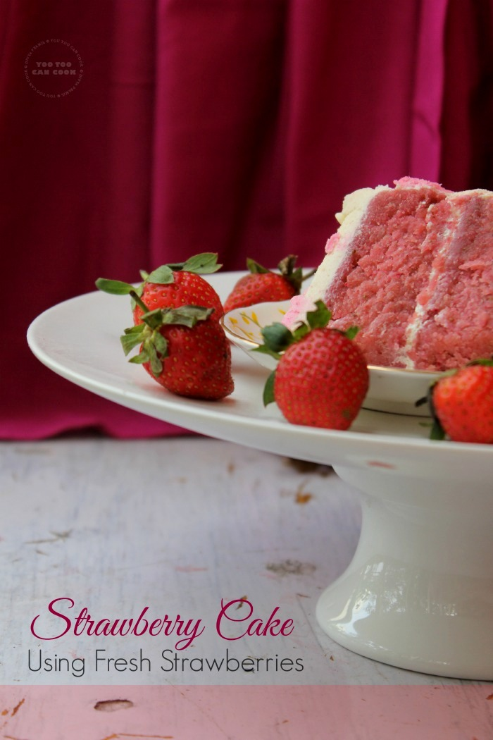 Strawberry Cake With Buttercream Frosting | Simple Strawberry Birthday ...
