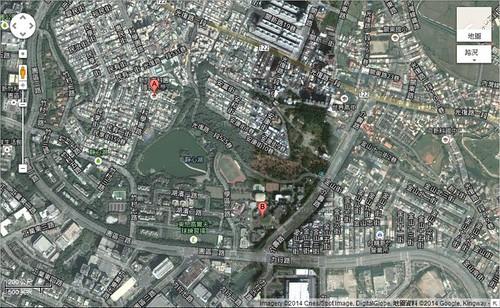 從科園國小附近的衛星地圖看來,綠地只是是城市住宅區中的鑲嵌塊