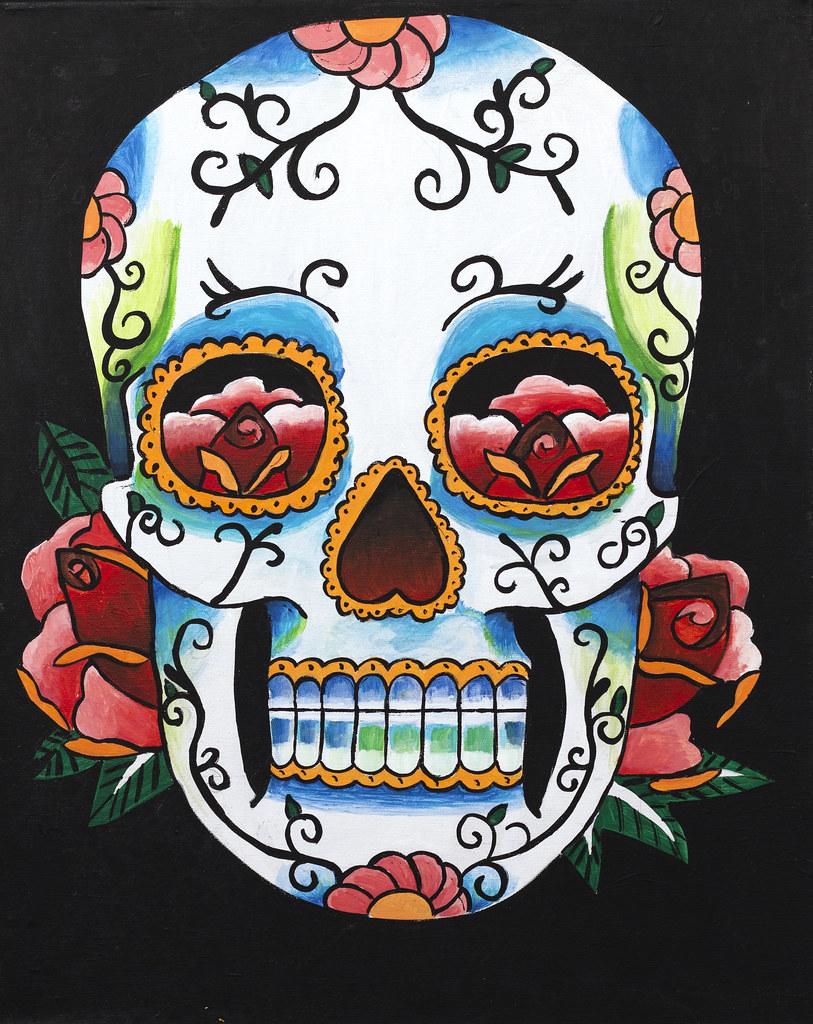 """Megan Calsbeck Skullz 18"""" x 20"""" Acrylic 2013"""