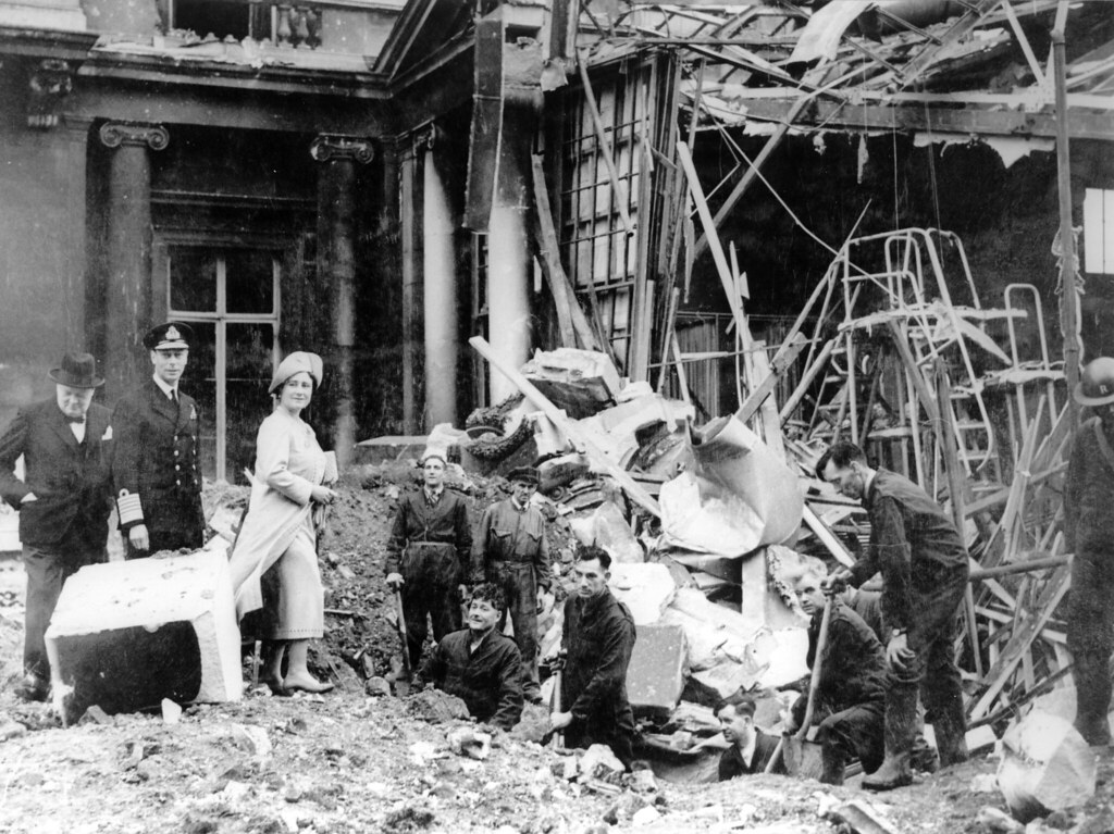 Photograph of bomb damage in Buckingham Palace, September 1940