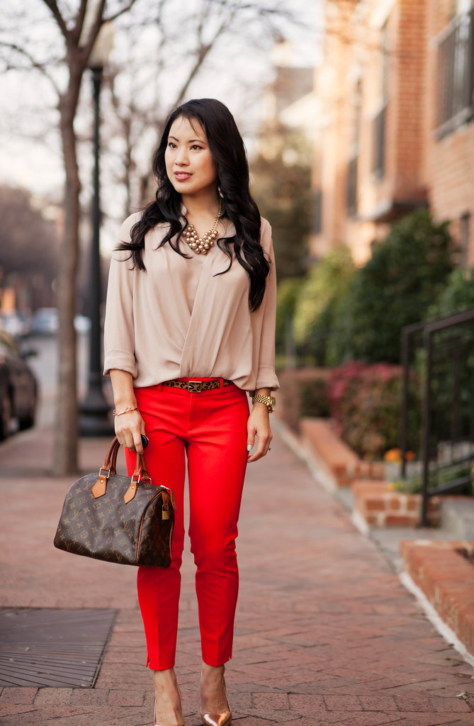 cute & little blog | red pants + neutral surplice drape top outfit