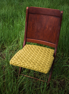 Cable knit antique chair