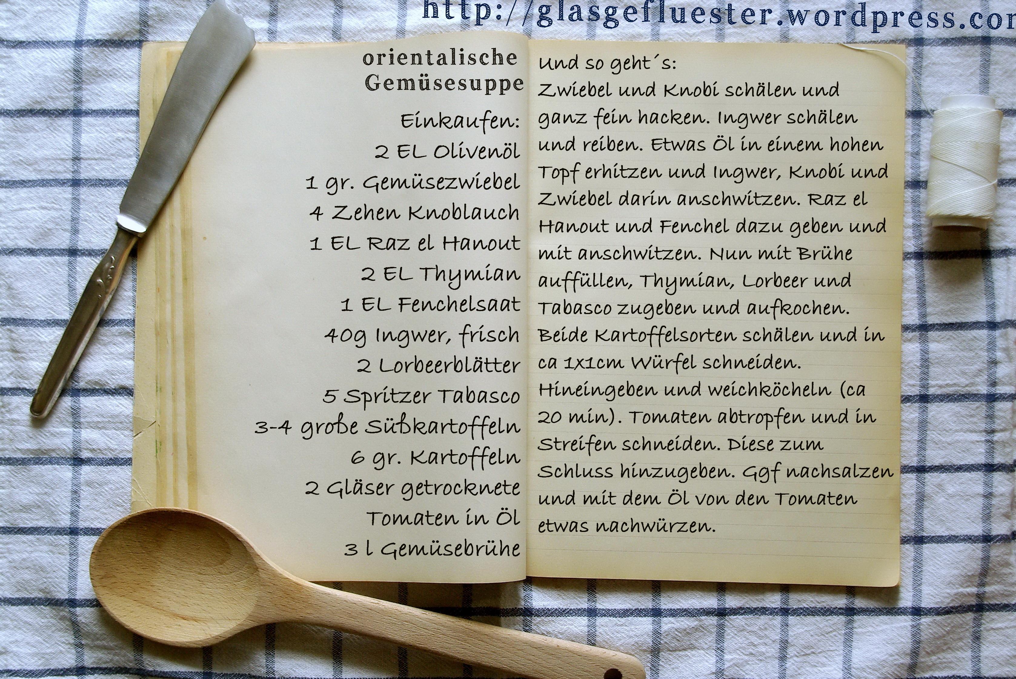 Einkaufszettel orientalische Gemüsesuppe by Glasgefluester