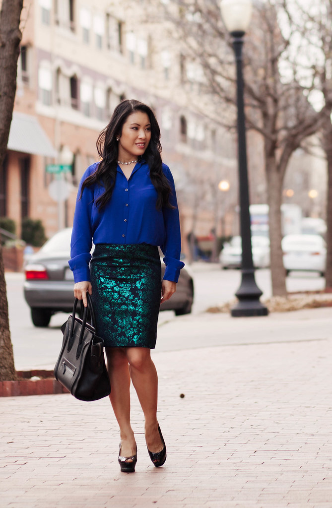 cute & little blog | petite fashion | cobalt silk shirt, j.crew emerald floral brocade skirt, peep-toe slingback pumps outfit