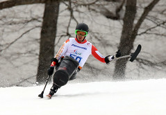 Josh Dueck competes in the Super-G at the 2014 Paralympic Winter Games